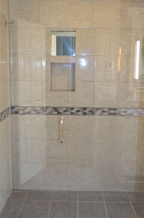 entry shower blue ash  contemporary bathroom