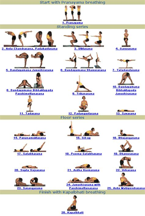 printable beginner yoga poses chart bikram yoga poses chart