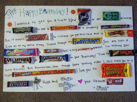 Gift Card Ideas For Brother - birthday candy card for my little brother things i ve made pinterest birthday