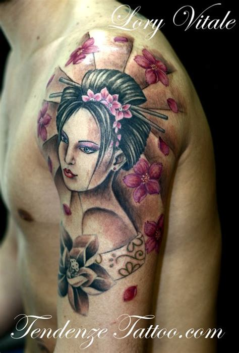tatuaggi geisha con fiori e piercing collection tattoist