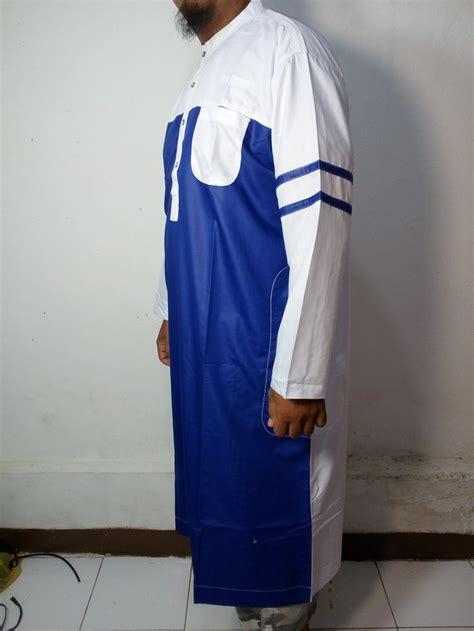 Gamis Pria Kombinasi baju kurung laki baju gamis atas mata kaki baju jubah pria warna biru putih lengan garis baju