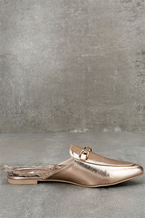 Faux Fur Loafers chic gold loafer slides faux fur loafers slip on