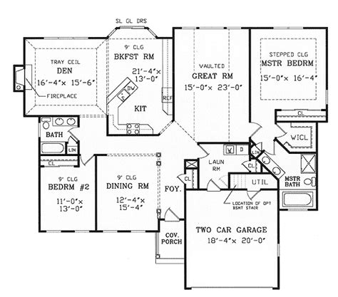 ranch floor plans with split bedrooms split bedroom ranch for modest lot 3858ja 1st floor