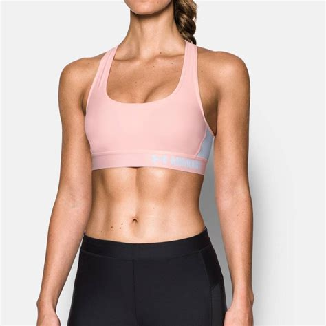 Sport Bra armour mid womens pink compression crossback sports