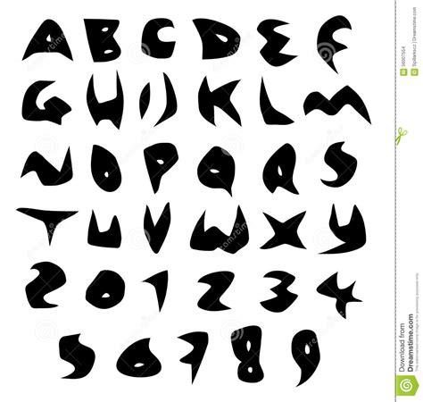 creepy alphabet sharp vector fonts  black  white