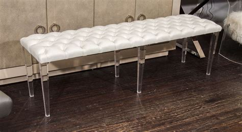 lucite bench legs custom tufted leather with lucite leg bench for sale at