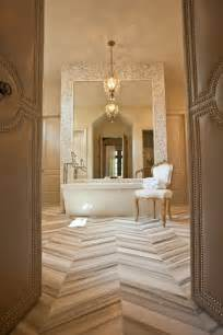 marble herringbone tile floor transitional bathroom