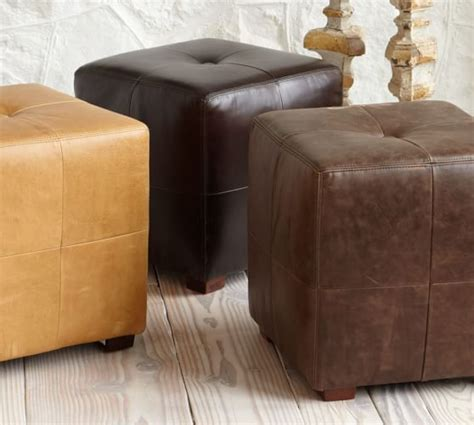 Sullivan Leather Ottoman Sullivan Leather Cube Pottery Barn