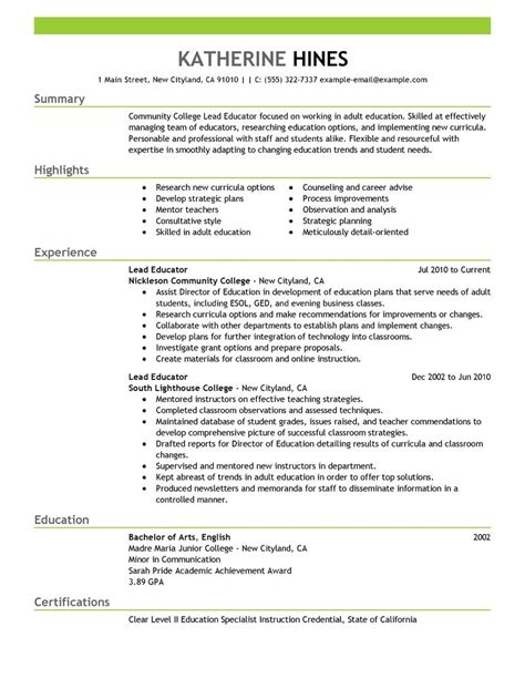 best lead educator resume exle livecareer