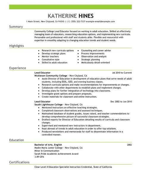 Lead Educator Resume Examples   Education Resume Samples