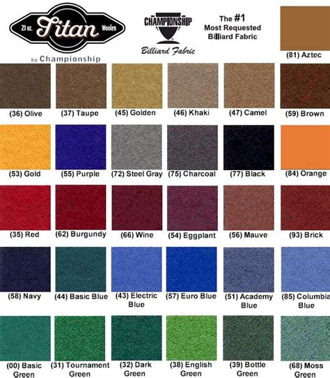 pool table felt cloth colors