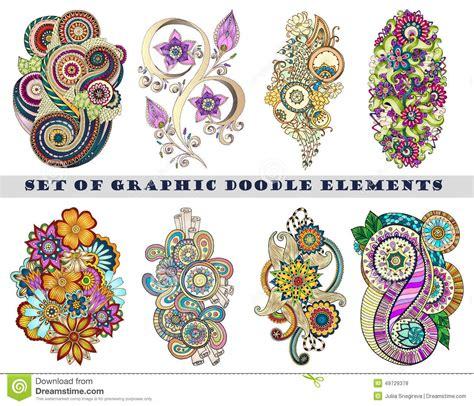 doodle version free set of henna paisley mehndi doodle element stock vector