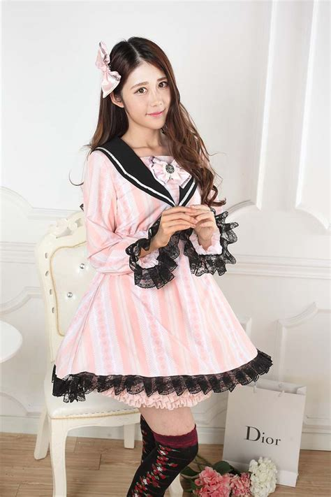 www homelolitas com cheap sweet lace pink navy collar print bow sweet lolita