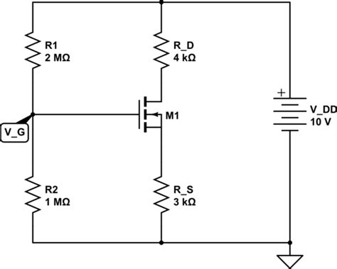 transistor gate bias voltage mosfet how to find the q point of the nmos transistor in voltage divider biasing circuit