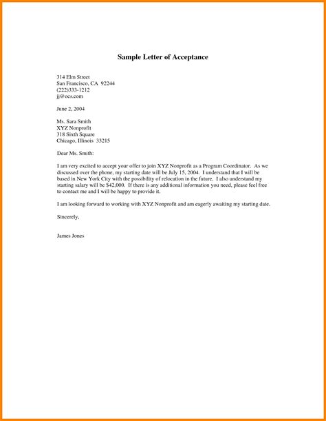 Offer Letter Acceptance Email Exle Sle Letter Accepting A Offer Thevictorianparlor Co