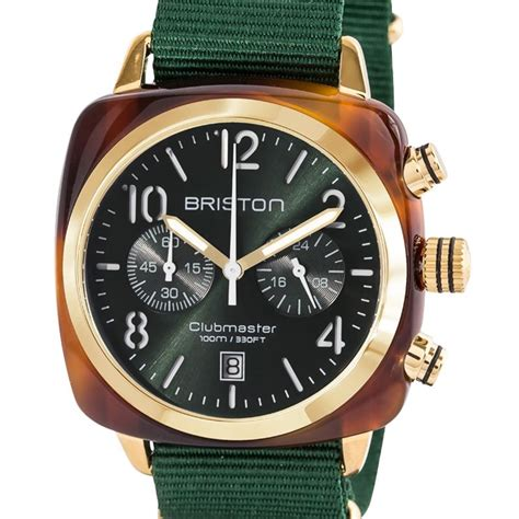 Montre Clubmaster Chrono Gold Vert Ecaille de tortue   Briston   Ocarat