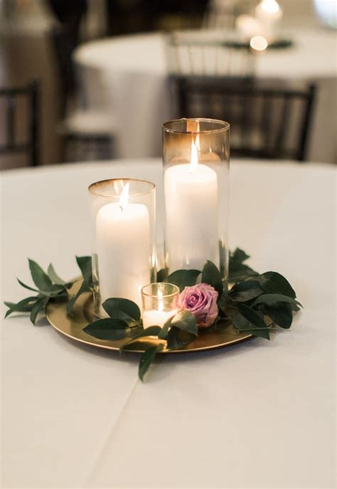 Candle Wedding Centerpiece Purple And Greenery Centerpiece Greenery For Wedding Centerpieces