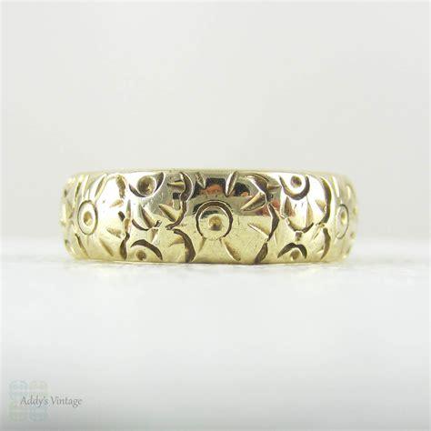 flower pattern engagement ring vintage flower engraved pattern wedding ring wide 9 carat