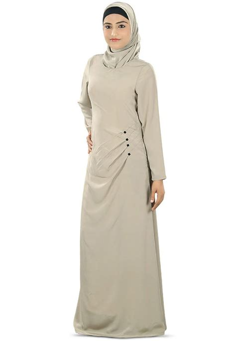 Helsa Crepe Dress Maxi Gamis fawn faux crepe readymade abaya with qam191
