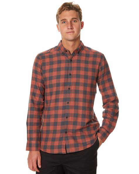 Burnt Orange Ls by Ourcaste Grant Ls Mens Shirt Burnt Orange Surfstitch