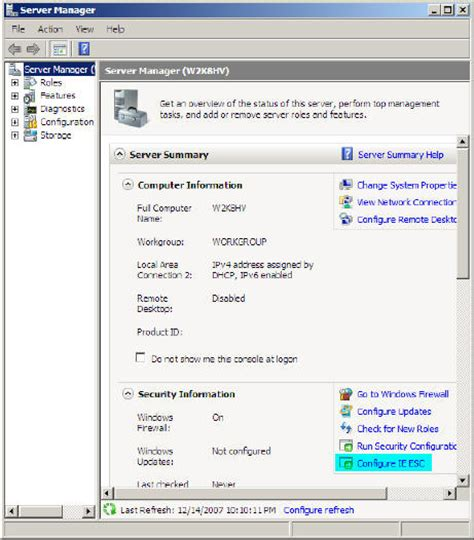 configure xp security windows server 2008 manage internet explorer enhanced