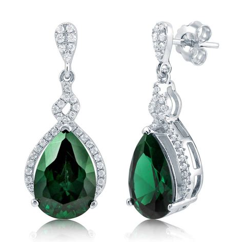 Drop Earring berricle sterling silver simulated emerald cz teardrop