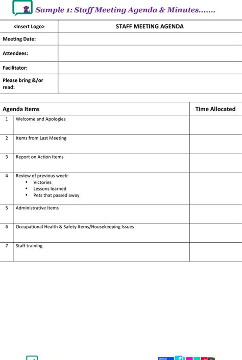 staff meeting agenda template download free premium