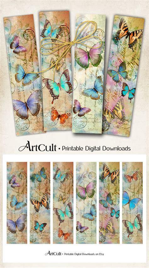 printable bookmarks etsy printable download butterflies bookmarks digital collage sheet