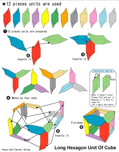 How To Make A Paper Moving Cube - origami hexagon unit of cube origami
