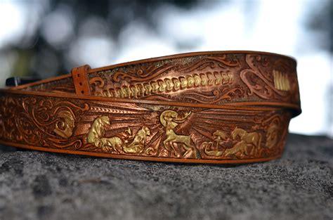 Gamis Belt salukifeathers leather collar custom tooled creations