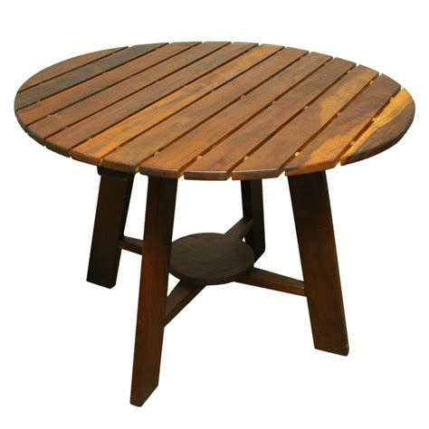 Sergio rodrigues exotic wood round outdoor dining table at 1stdibs