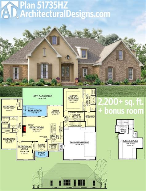 Plan 51735hz Flexible Southern Home Plan With Bonus Room One Story House Plans With Bonus Room Above Garage