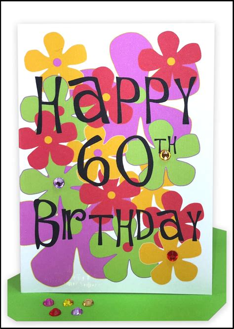 Happy 60th Birthday Cards Happy 60th Birthday Greeting Card Flowers Lils Cards