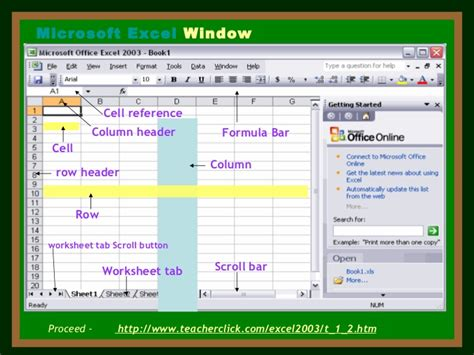 Different Parts Of The Microsoft Excel Window Bertylspots Exle Powerpoint Presentation For