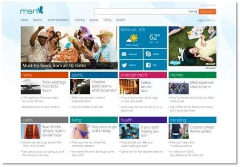 la nuova home page di msn il di windows per l