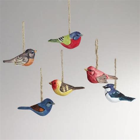 wood bird ornaments set of 6 world market