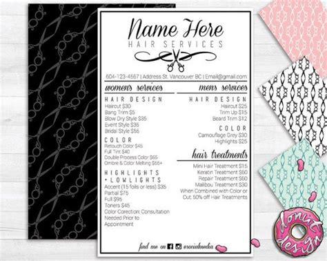custom menu template hair salon service menu printable custom template