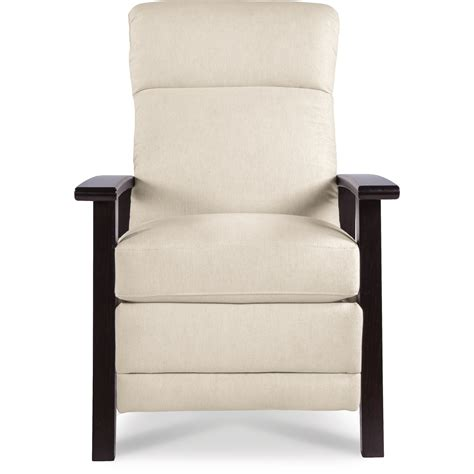 wood arm recliner nouveau modern recliner with wood arms by la z boy wolf