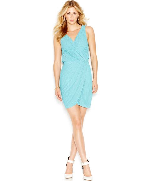Guess Dress Spandek lyst guess beaded faux wrap dress in blue