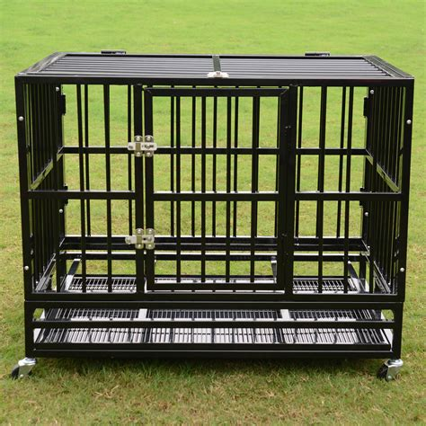 metal kennel 37 quot 48 quot heavy duty cage crate kennel metal pet playpen portable w tray new k9