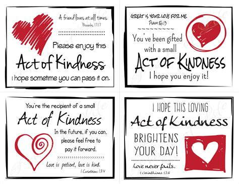 pay it forward card templates random act of kindness cards instant pdf