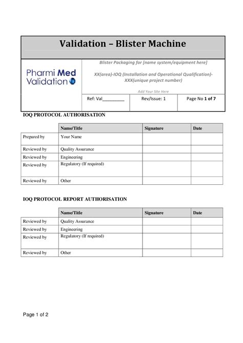 Blister Machine Ioq Template Without Vision System Sle By Pharmi Med Ltd Issuu Equipment Validation Protocol Template