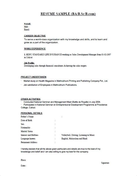 Resume Exle For Freshers by How To Prepare Cv Format Letters Free Sle Letters