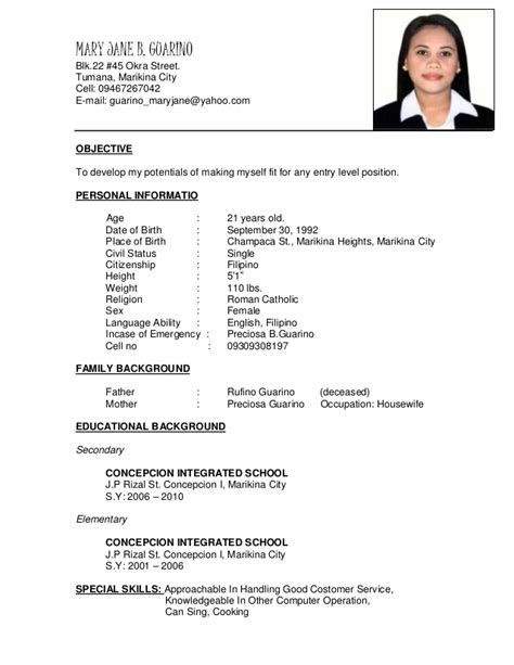 application letter as a salesgirl resume
