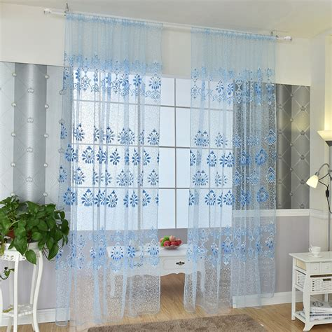 Printed Sheer Curtains Printed Window Sheer Voile Door Wall Curtain Drape Panel Tulle Valances Uk Ebay