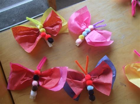 Tissue Paper Butterfly Craft - tissue paper butterfly magnet craft vhc