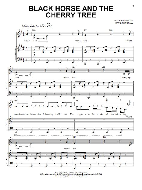 cherry tree song black and the cherry tree sheet by kt tunstall piano vocal 91077