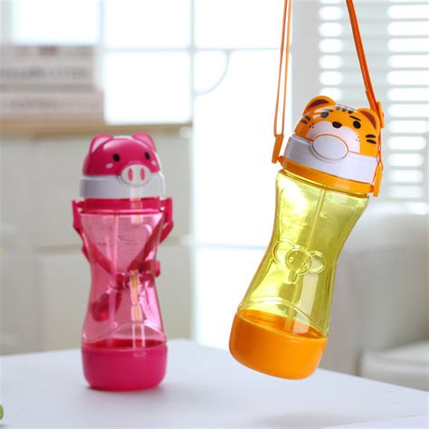 450ml animal plastic straw portable children water bottle leak proof shaker fashion sport
