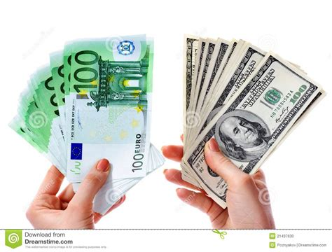 currency converter xpress money exchange dollars to euro money in female hand stock photo