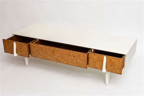 low storage bench mid century brown and saltman california modern paul